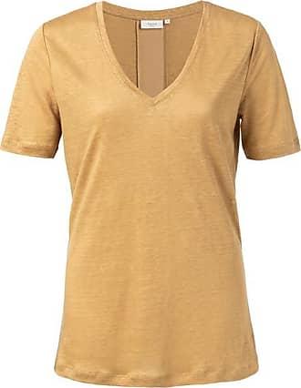 YaYa Oker Leinen T-Shirt mit V-Ausschnitt - Large