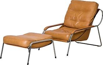 ZANOTTA Design Maggiolina Lounge Chair & Ottoman Tan Leather