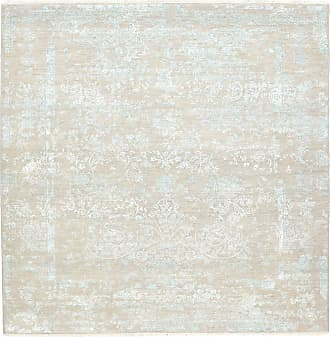 Nain Trading 201x199 Handknotted Sadraa Rug Square Grey/Beige (Wool/Bamboo Silk, Indien)