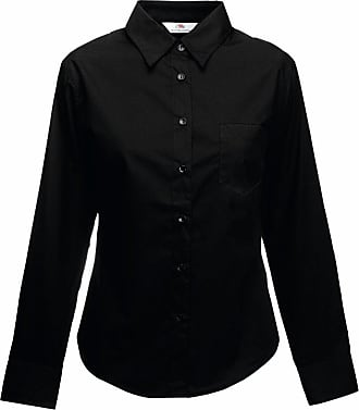 Fruit Of The Loom Fruit Of The Loom Lady L/S Poplin Shirt Colour=Black Size=XL
