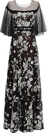 Marchesa Marchesa Notte Woman Embellished Point Desprit-paneled Tulle Gown Black Size 8