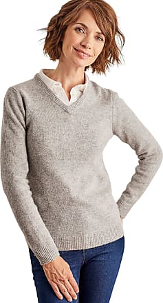 WoolOvers Womens Lambswool V Neck Jumper Grey Marl, M
