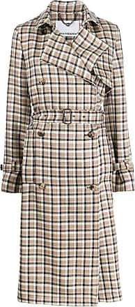 Paco Rabanne plaid trench coat - Brown
