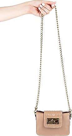 Andrea Vinci Mini bolsa de festa em couro legítimo nude + alça de metal