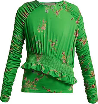 Preen Toyin Floral-print Ruched-crepe Jersey Top - Womens - Green Multi