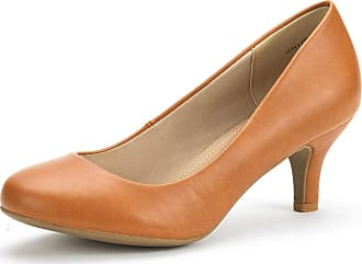 Dream Pairs Womens Slip On Low Kitten Heels Round Toe Pump Court Shoes Luvly Tan Pu Size 8.5 US/ 6.5 UK