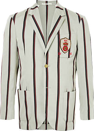 Kent & Curwen crest detail striped blazer - Grey