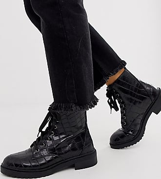 New Look New Look wide fit lace up flat hiker boot in black