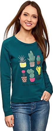 oodji Womens Printed Cotton Sweatshirt, Blue, UK 14 / EU 44 / XL
