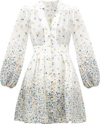 Zimmermann Carnaby Floral-print V-neck Linen Mini Dress - Womens - Blue Print
