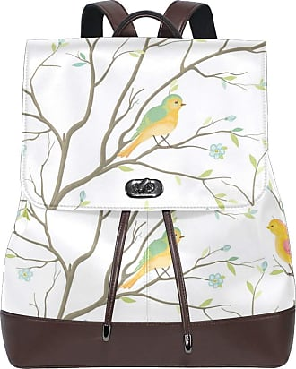 Ahomy Ladies Fashion PU Leather Backpack Watercolor Tree Branches Flowers Bird Anti-Theft Rucksack Shoulder Bag