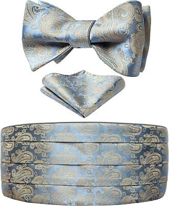 Hisdern Mens Formal Polka Dots Silk Cummerbund & Pocket Square Set Blue/Gold