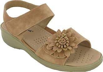 Cushion-Walk Halterback Sandals Womens Wedge Twin Strap Flower Lightweight Soft (UK 3 / EU 36, Camel)