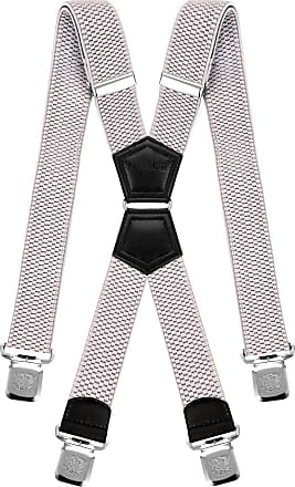 Decalen Mens Braces X Style Very Strong Clips Adjustable One Size Fits All Heavy Duty (Silver), One Size - Long