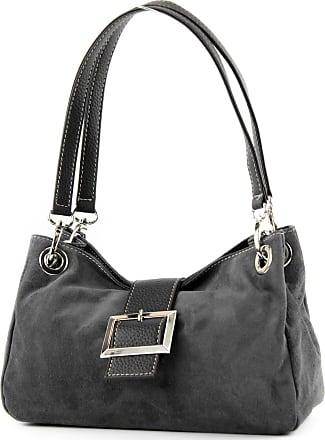 modamoda.de ital. Ladies Handbag Tote Satchel leather bag Suede Small TL02, Colour:dark gray