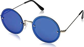 41f573354a A.J. Morgan Rimless Eyes Rectangular Sunglasses GOLD BLUE MIRROR 56 mm