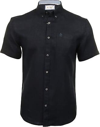 Original Penguin Mens Shirt Washed Linen - Short Sleeved (Dark Sapphire) XL