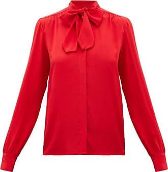 Giambattista Valli Pussy-bow Silk-crepe Blouse - Womens - Red
