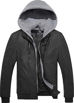 Wantdo Mens Leather Bomber Jacket with Hood Black Large