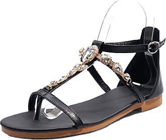 Mediffen Clip Toe Womens Studded T Strap Comfort Bohemia Flat Sandals Ladies Summer Sandals Comfort Casual Sandals Black Size 45 Asian