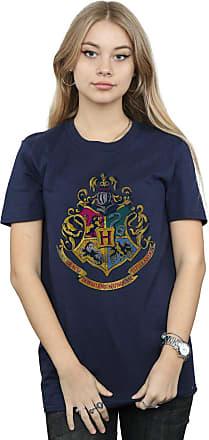 Harry Potter Womens Hogwarts Distressed Crest Boyfriend Fit T-Shirt XXX-Large Navy Blue