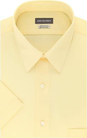 Van Heusen Mens Dress Shirts Short Sleeve Poplin Solid, Yellow/Lemon Glaze/Yellow, L (Neck 41 cm)