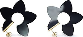 Tinna Jewelry Brinco Dourado Argola Flor (Preto)