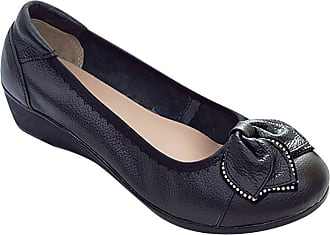 Daytwork Leather Comfort Breathable - Soft Wedge Women Pumps Round Toe Casual Flat Slip On Driving Work Loafers Boat Shoes Black