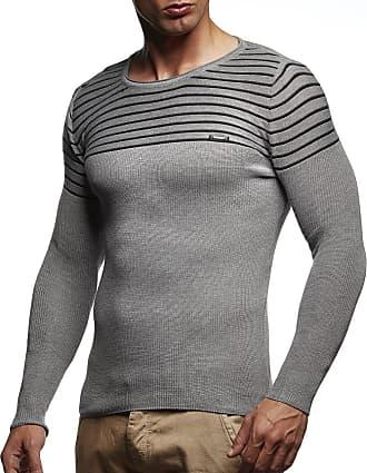 LEIF NELSON Mens Pullover Knit Sweater fine Knit Crew Neck LN-1575 Grey Black Medium