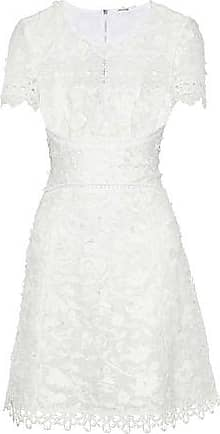 b0a3a7a90092 Elie Tahari Elie Tahari Woman Adina Guipure Lace-paneled Embroidered Ramie Mini  Dress White Size