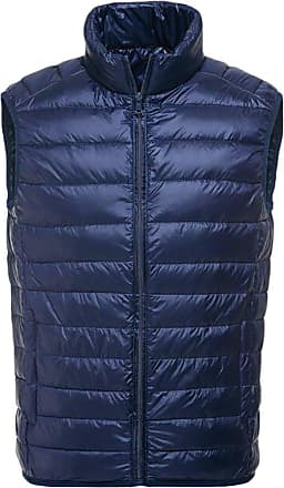 YOUJIA Mens Ultra Light Weight Down Jacket Winter Warm Packable Puffer Down Vest Coat (Navy, XL)