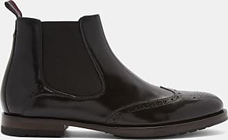 Ted Baker Wing Cap Leather Brogue Chelsea Boots in Black CAMHERI, Mens Accessories