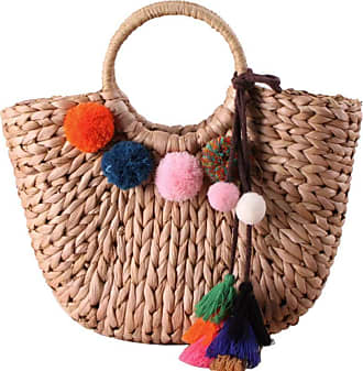 YYW Straw Bag for Women Summer Handwoven Tote Bag Rattan Handbag Boho Style Clutch Purse for Beach Travel Daily Use (Rattan Bag with Pompoms)