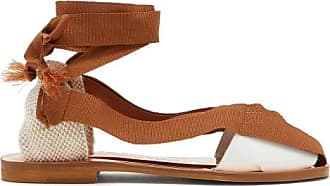 ÁLVARO GONZÁLEZ Teresa Wraparound Leather Sandals - Womens - Brown White
