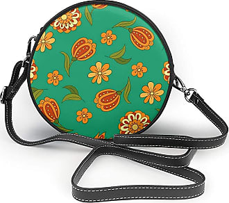Turfed Spring Flowers Print Round Crossbody Bags Women Shoulder Bag Adjustable PU Leather Chain Strap and Top Zipper Small Handbag Handle Tote