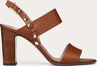 Valentino Garavani Valentino Garavani Grainy Leather Slingback Sandal 85 Mm Women Brown Calfskin 100% 36.5