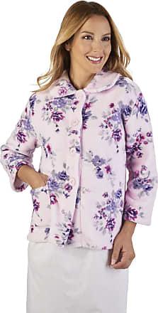Slenderella BJ2310 Womens Coral Fleece Pink Floral Bed Jacket XXLarge