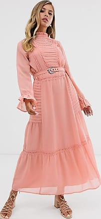 Asos lace insert maxi dress with buckle belt-Pink