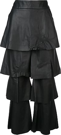 Osman Calça com sobreposição de couro - Preto