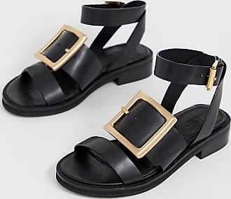 6f084b4f5 Asos Wide Fit Forever leather flat sandals - Black