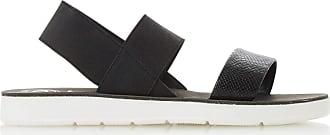 Dune London Dune Ladies Womens LENIA Double Strap Slingback Sandals Size UK 4 Black Flat Heel Flat Sandals