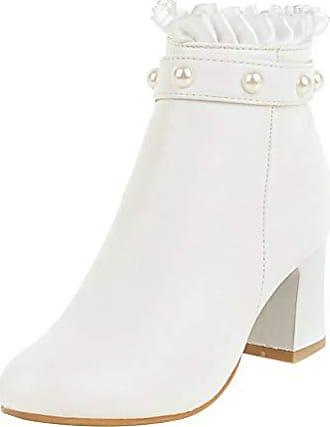 3f512e4e8f Artfaerie Damen Perlen Stiefeletten Blockabsatz mit Reißverschluss High  Heels Ankle Boots Spitze Modisch Schuhe 7cm Absatz