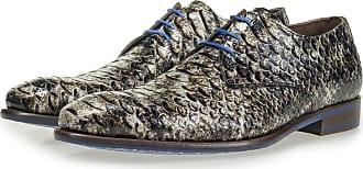 f6d77dbdc74852 Floris Van Bommel Grauer Lackleder-Schnürschuh mit Schlangenprint