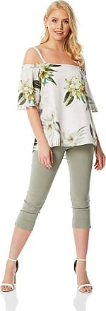 Roman Originals Women Tropical Print Floral Cold Shoulder Top - Ladies Spring Summer Everyday Casual Party Off The Shoulder Bardot Short Sleeve Lightweight Chiffon To