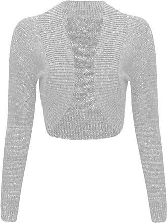 Islander Fashions Women Ladies Long Sleeve Knitted Metallic Lurex Shrug Cardigan Bolero Crop Top (Medium, Gray)