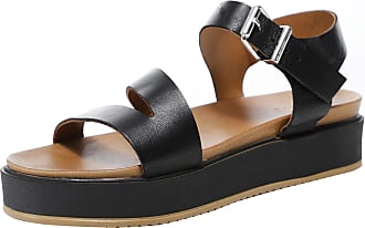 Inuovo Womens Leather Flatform Sandals 8 Black