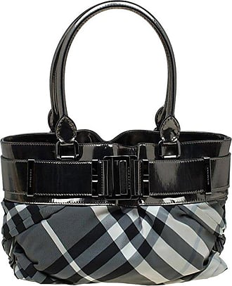 fccdba1a2650 Burberry Metallic Grey Beat Check Nylon And Leather Small Healy Tote