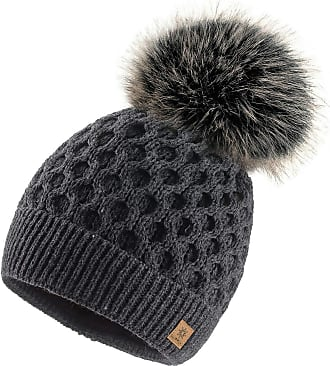 4sold Ladies Chunky Soft Cable Knit Handmade Woman Hat Cosy Fleece Liner and Bobble Faux Fur Pom pom (LORA Dark Grey)