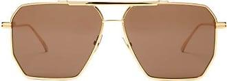Bottega Veneta Hexagonal Logo-engraved Aviator Metal Sunglasses - Womens - Black Gold
