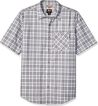 Timberland Mens Plotline Short-Sleeve Work Shirt, Silver Plaid L
